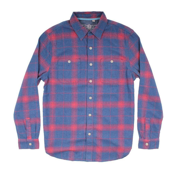 True Grit Roadtrip Plaid Long Sleeve 2 Pocket Shirt in Blue/Red