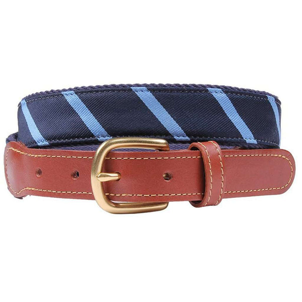 Stripes Are Way Preppy Leather Tab Belt in Navy Blue and Light Blue by Country Club Prep