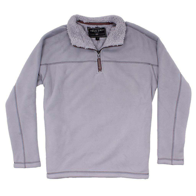 True Grit Bonded Polar Fleece & Sherpa Lined 1/4 Zip Pullover with Pockets in Pale Blue