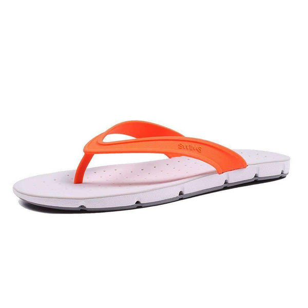 SWIMS Breeze Thong Sandal in Orange, White & Gray