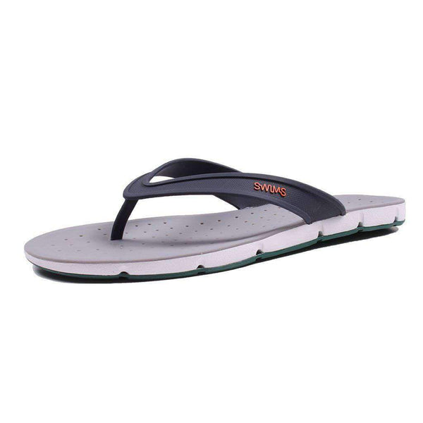 SWIMS Breeze Thong Sandal in Navy, White & Court Green