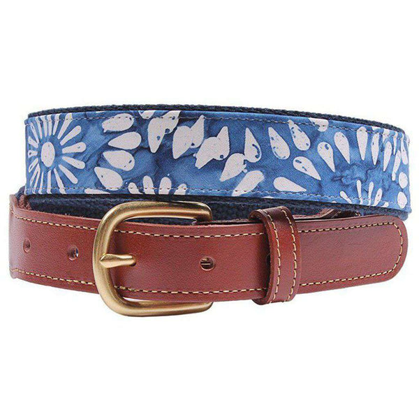 Blue Flower Tonga Leather Tab Belt on Navy Canvas by Country Club Prep