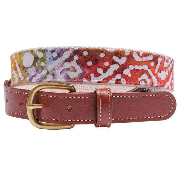 Cascades Leather Tab Belt on Natural Canvas by Country Club Prep