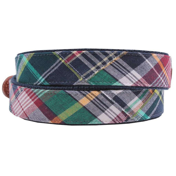 Mackinaw Madras Leather Tab Belt on Navy Canvas by Country Club Prep
