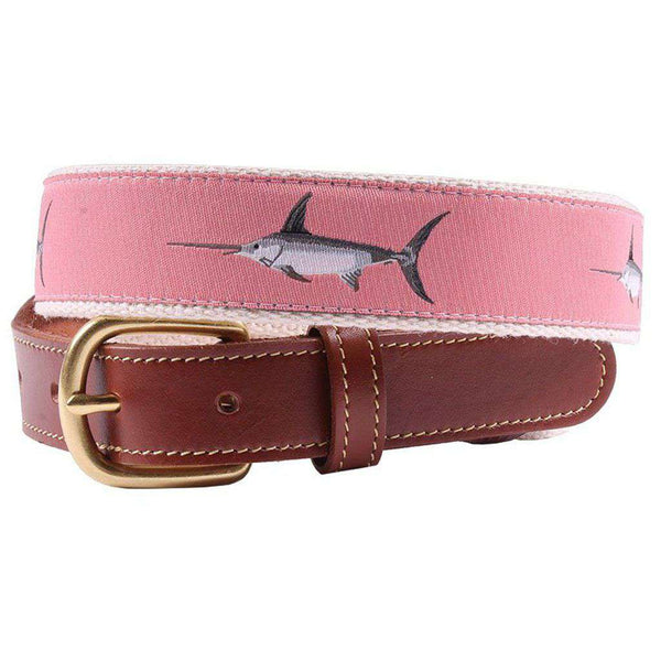 Affable Swordfish Leather Tab Belt in Salmon by Country Club Prep
