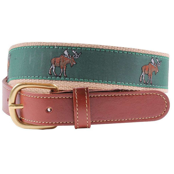 Moose Leather Tab Belt in Green by Country Club Prep