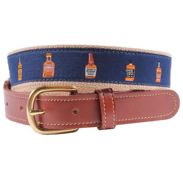 Whiskey Row Leather Tab Belt in Navy by Country Club Prep