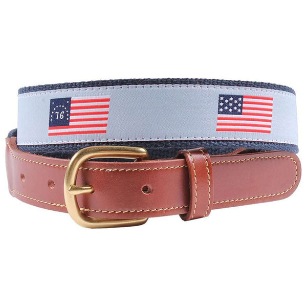 Flags of Our Fathers Leather Tab Belt in Light Blue by Country Club Prep
