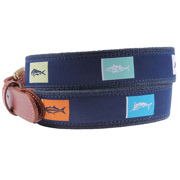 Fish Flags Leather Tab Belt in Navy by Country Club Prep