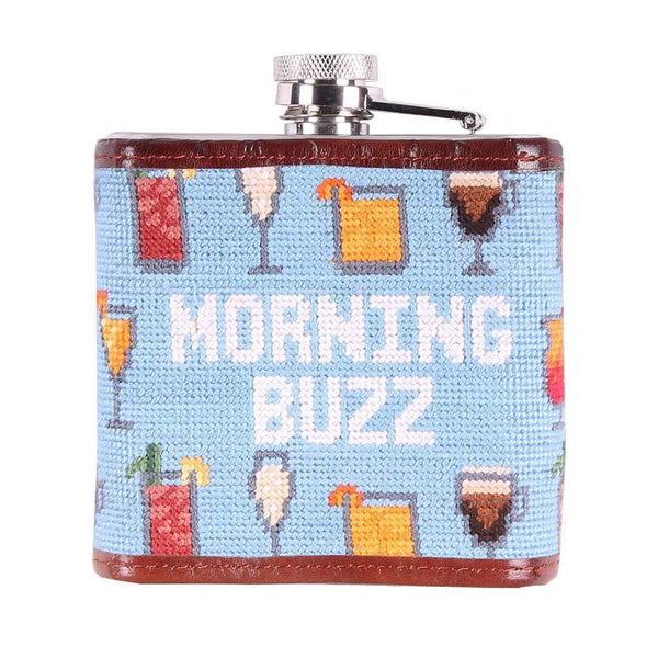 Morning Buzz Needlepoint Flask in Light Blue by Smathers & Branson
