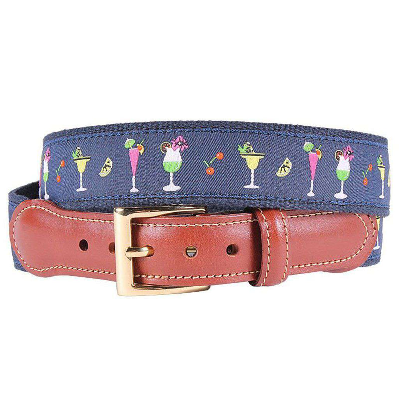 Happy Hour Leather Tab Belt in Navy on Navy Canvas by Country Club Prep