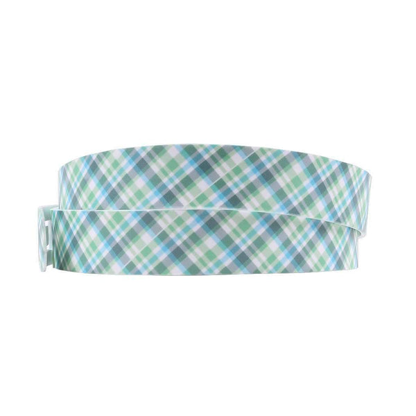 Summer Plaid Green Classic Belt with Green Buckle by C4 Belts