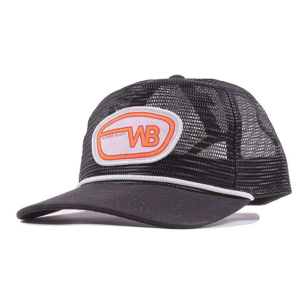 Waters Bluff Camper Trucker Hat in Black