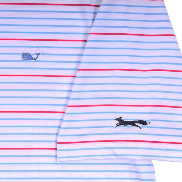 Vineyard Vines Swindell Stripe Sankaty Performance Polo in White Cap by Vineyard Vines