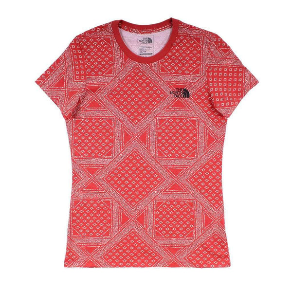 The North Face Women's All Over Crew in Sunbaked Red Bandana Print
