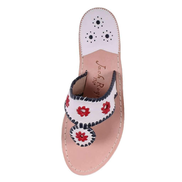 Patriotic Jack Sandal in White, Navy & Red by Jack Rogers - FINAL SALE