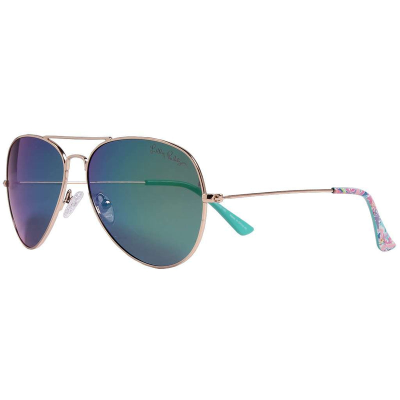 Lexy Sunglasses in Fan Sea Pants With Green Lenses by Lilly Pulitzer