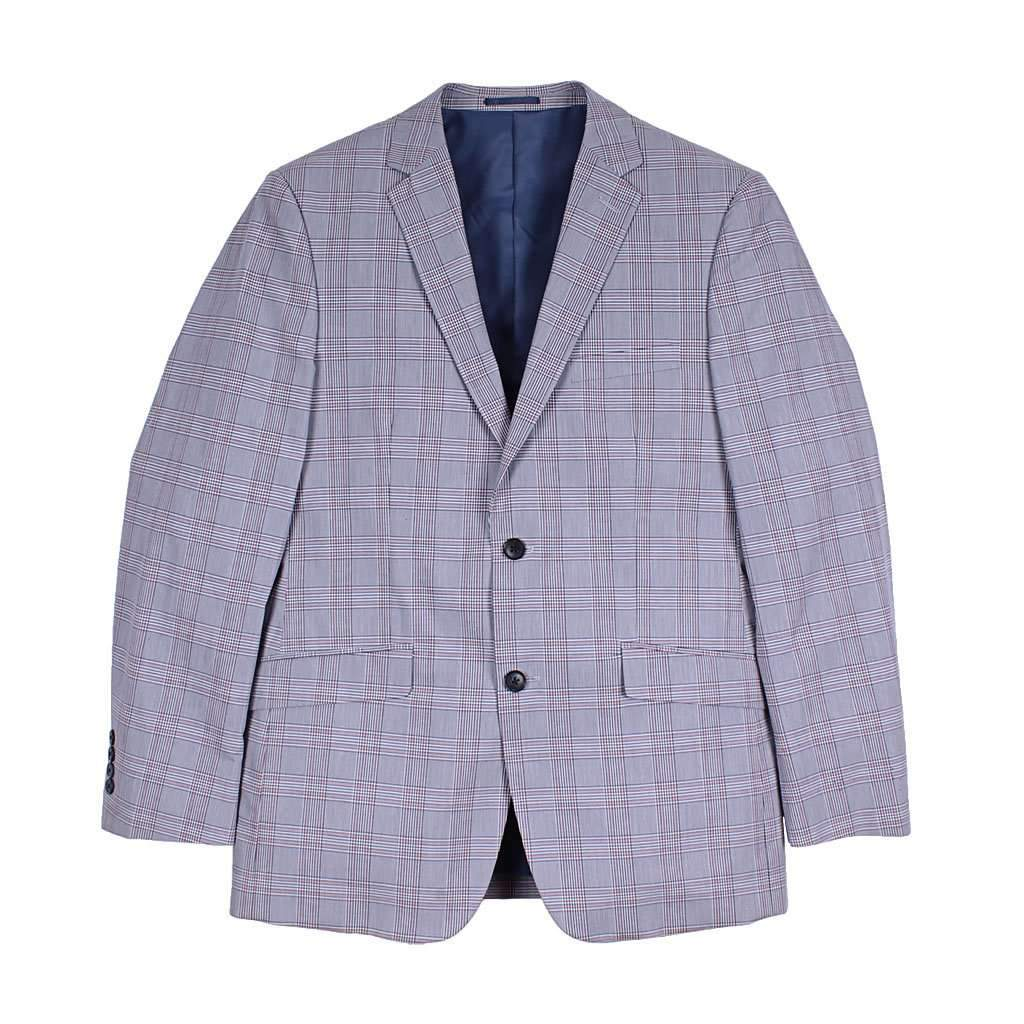 Country Club Prep Wolf Grey Plaid Blazer