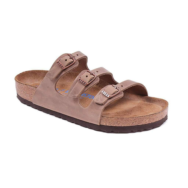Women's Florida Oiled Leather Sandal in Tobacco with Soft Footbed by Birkenstock