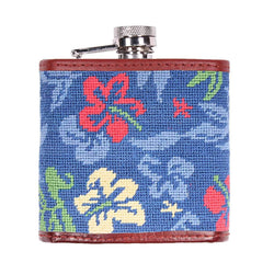 Multi Colored Hibiscus Needlepoint Flask by Smathers & Branson