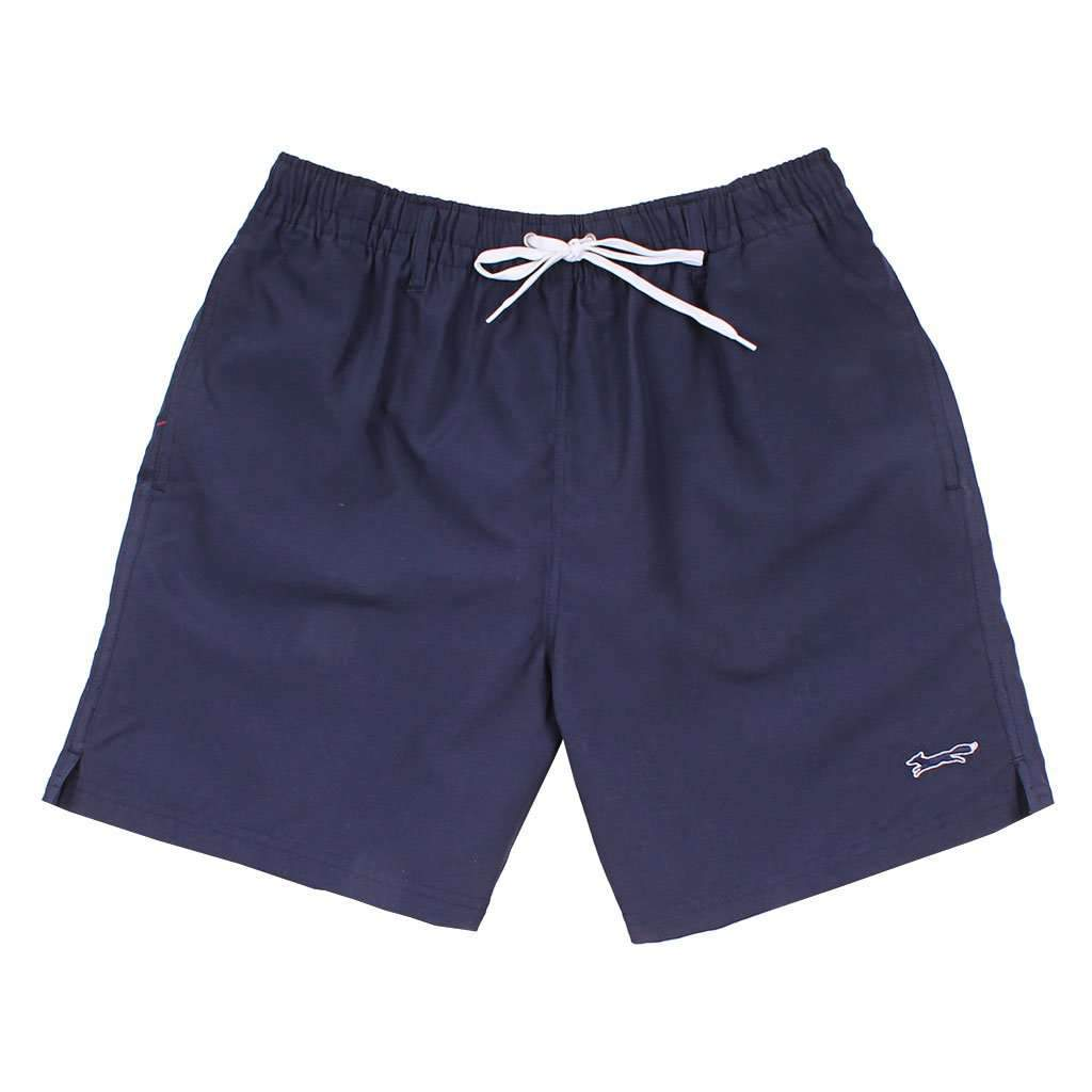 State Traditions Swim Suit in Navy with Embroidered Longshanks