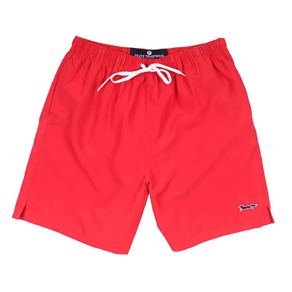 State Traditions Swim Suit in Red with Embroidered Longshanks