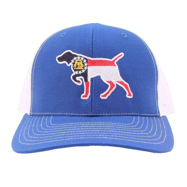 Georgia Flag Pointer Trucker Hat in Royal and White by Southern Snap Co.