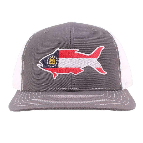Georgia Flag Snapper Hat in Gray and White by Southern Snap Co.
