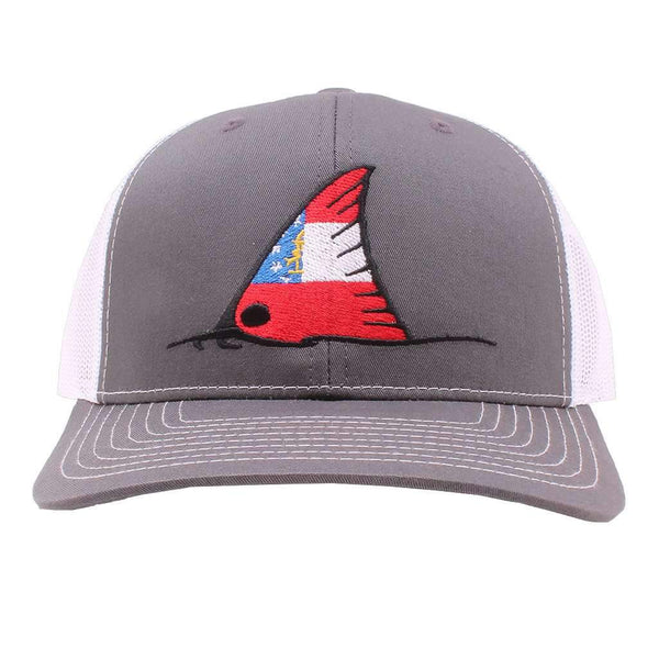 Georgia Flag Redfish Trucker Hat in Charcoal and White by Southern Snap Co.
