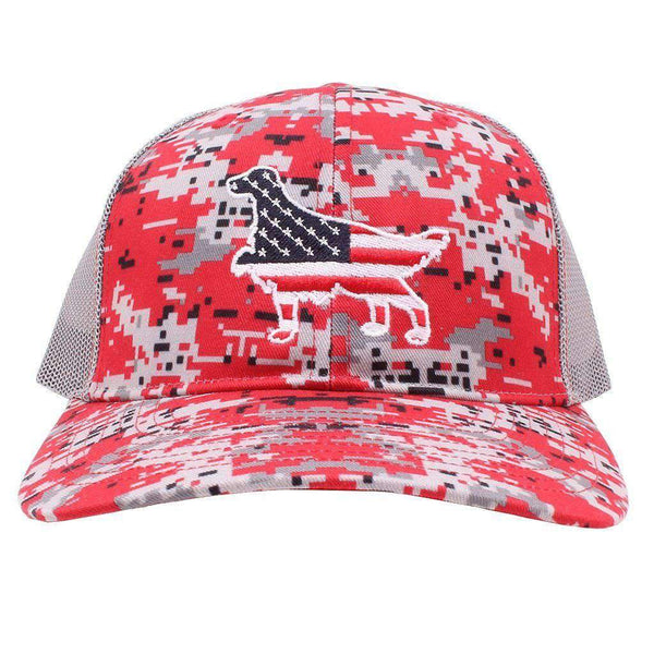 American Flag Hunter Dog Hat in Red Camo by Southern Snap Co.
