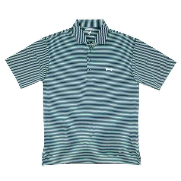 Longshanks Striped Performance Polo in Navy & Island Green by Country Club Prep