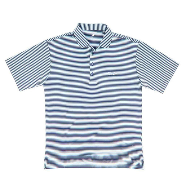 Longshanks Striped Performance Polo in Navy & Ice Blue by Country Club Prep
