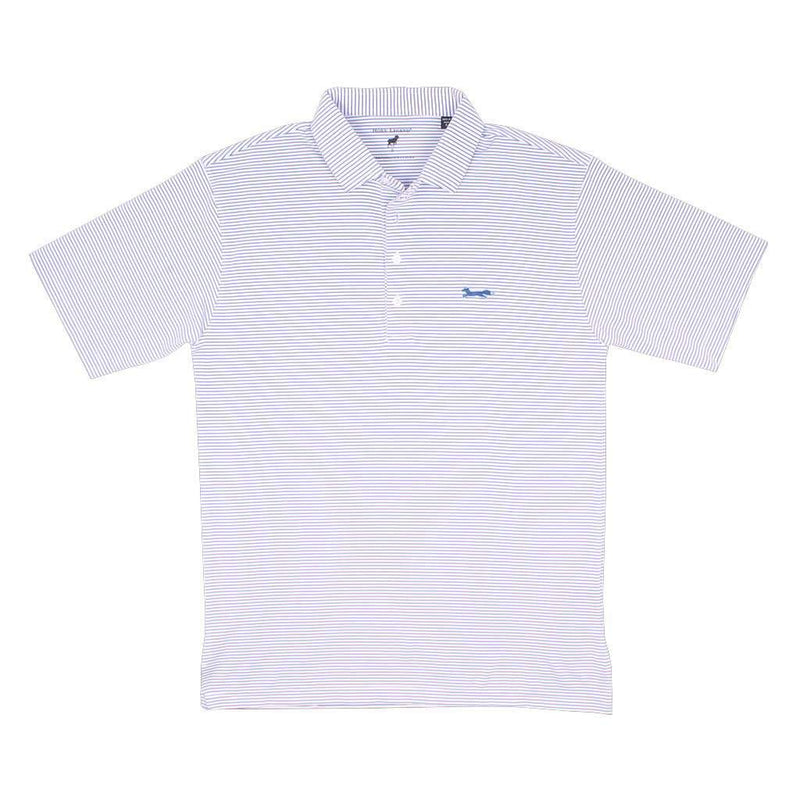 Longshanks Striped Performance Polo in White & Royal by Country Club Prep