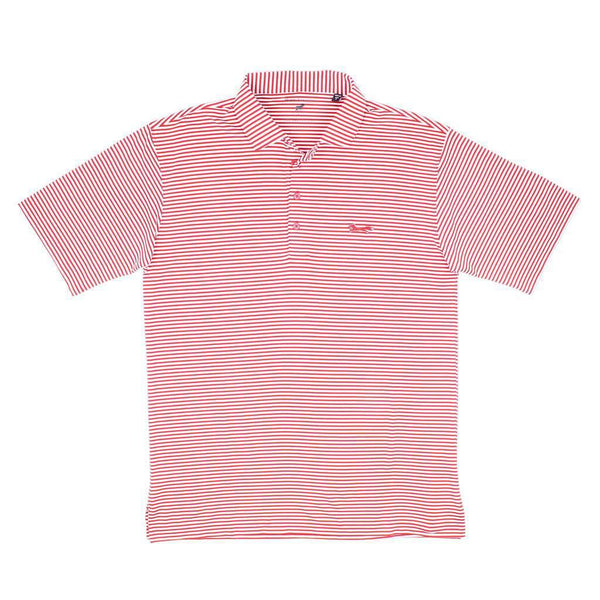 Country Club Prep Longshanks Striped Performance Polo in Crimson & White by Country Club Prep