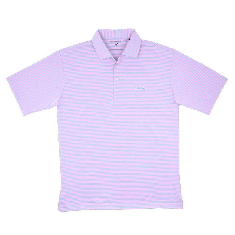 Country Club Prep Longshanks Striped Performance Polo in Ice Blue & Pink by Country Club Prep