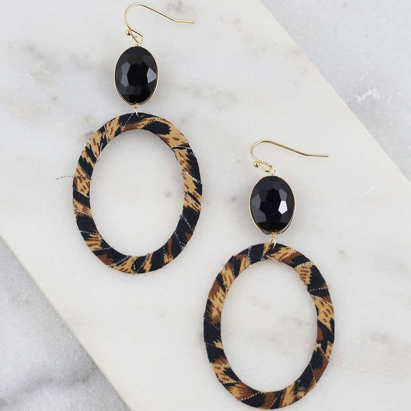 Caroline Hill Ruth Oval Stone with Leopard Wrapped Oval Fish Hook Earrings by Caroline Hill
