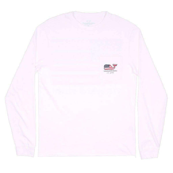 Custom USA Flag Long Sleeve Tee Shirt in White Cap by Vineyard Vines