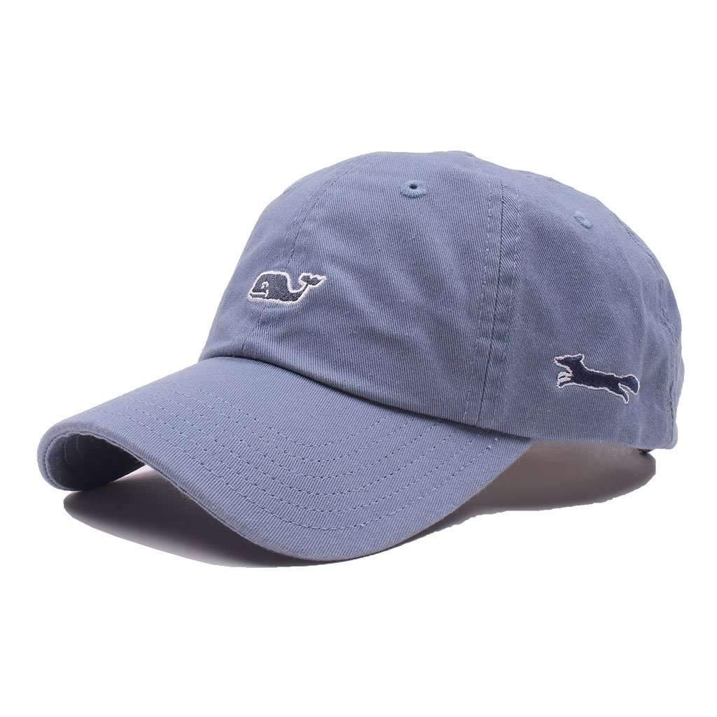 183ac92a5d2 Vineyard Vines Whale Logo Baseball Hat in Slate – Country Club Prep
