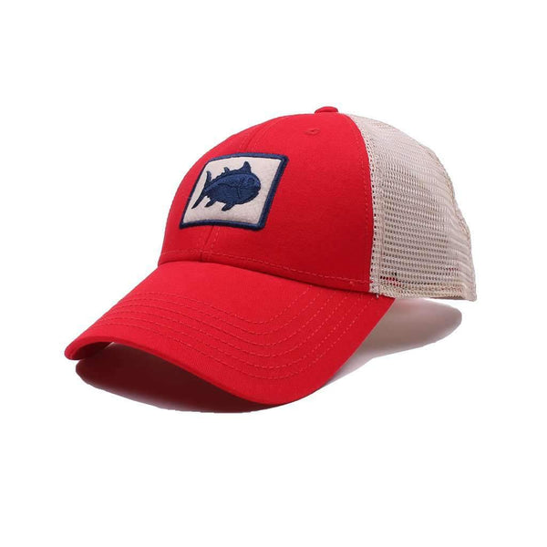 Southern Tide Gameday Skipjack Fly Patch Trucker Hat in Varsity Red