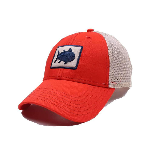 Southern Tide Gameday Skipjack Fly Patch Trucker Hat in Endzone Orange