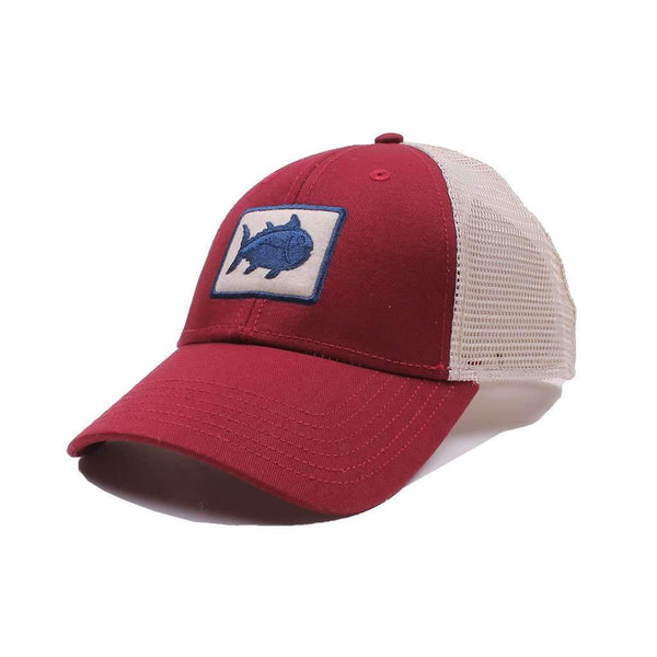 Gameday Skipjack Fly Patch Trucker Hat in Chianti by Southern Tide