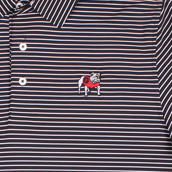 Men's Gameday Stripe Polo- University of Georgia in Black by Southern Tide