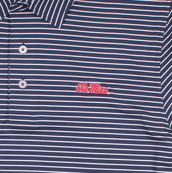 Men's Gameday Stripe Polo- University of Mississippi in Navy by Southern Tide