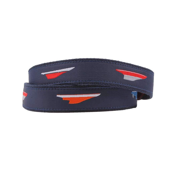 Meters Boats Leather Tab Belt in Navy by Country Club Prep