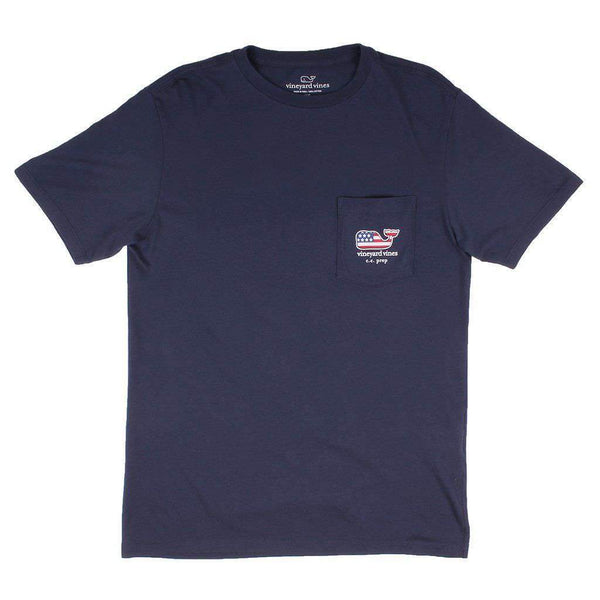 Vineyard Vines Custom USA Flag Pocket T-Shirt in Blue Blazer by Vineyard Vines