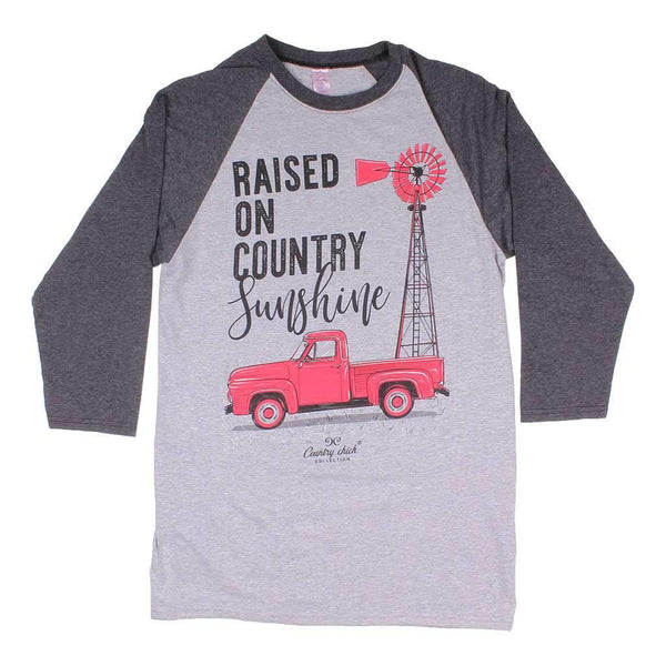 Simply Southern Long Sleeve Raglan Country Girls Tee in Heather Grey