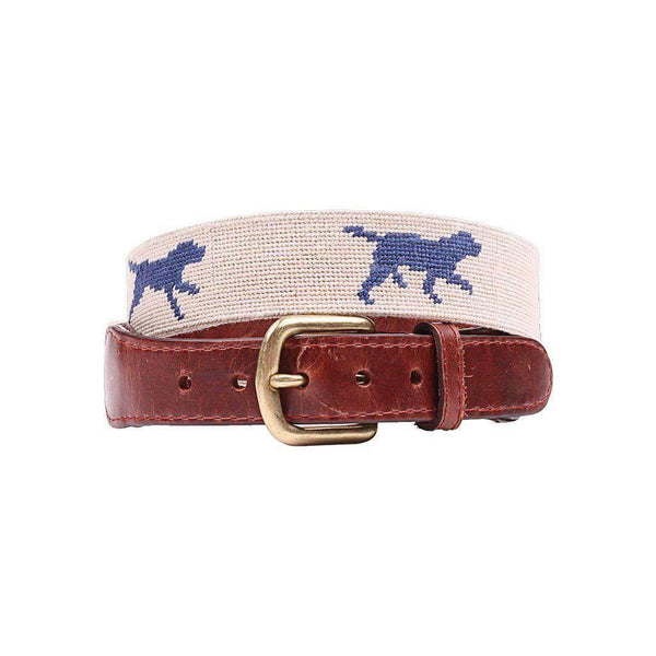 Smathers & Branson Dogs at Play Needlepoint Belt in Light Khaki