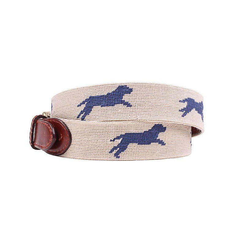 Dogs at Play Needlepoint Belt in Light Khaki by Smathers & Branson
