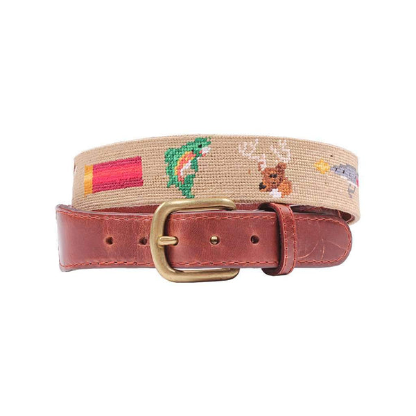 Smathers & Branson Southern Sportsman Needlepoint Belt in Dark Khaki