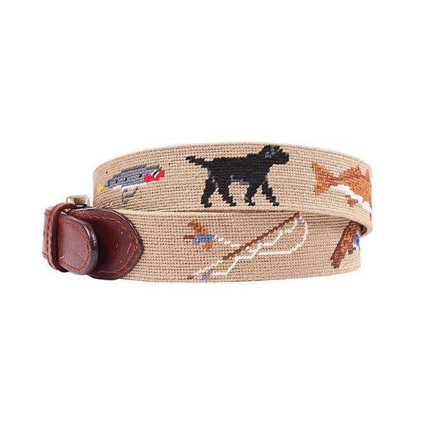 Southern Sportsman Needlepoint Belt in Dark Khaki by Smathers & Branson